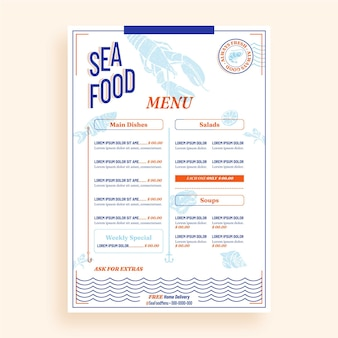Hand drawn menu template design