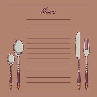 Hand-drawn menu with vintage silver cutlery.