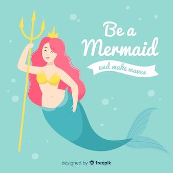 Hand drawn mermaid background