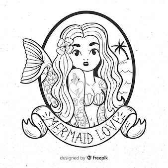 Hand drawn mermaid background