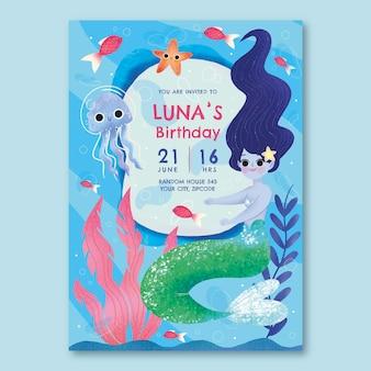 手描きの人魚の誕生日の招待状