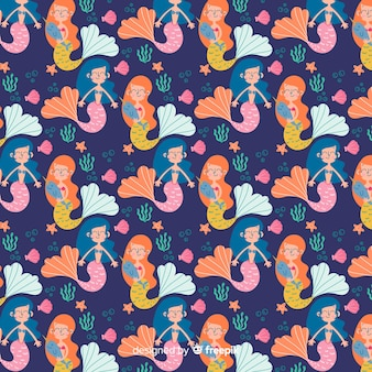 Hand drawn mermaid character pattern