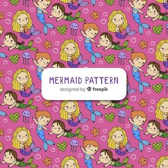 Hand drawn mermaid pattern