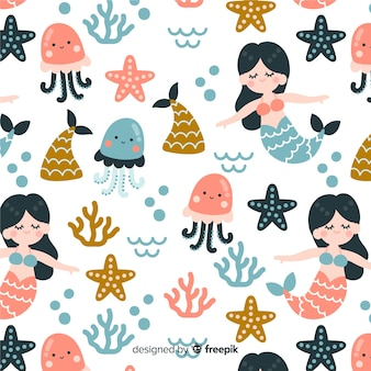 Hand drawn mermaid pattern
