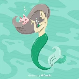 Hand drawn mermaid portrait