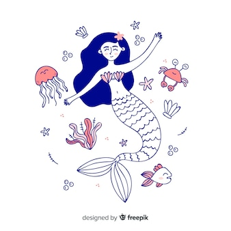 Hand drawn mermaid portrait