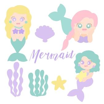 Hand drawn mermaid set.