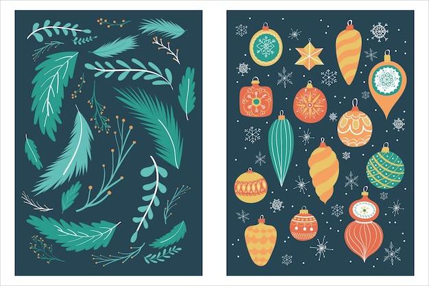 손으로 그린 메리 크리스마스와 행복 한 새 해 카드 컬렉션 집합