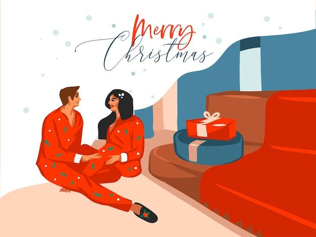 手描きのメリークリスマス、そしてクリスマスカップルのかわいいイラストが一緒に分離された自宅でギフトを開梱する新年あけましておめでとうございます漫画のお祝いカード