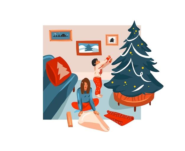 手描きのメリークリスマス、そしてクリスマスの家族が一緒に家で贈り物を梱包するかわいいイラストが分離された新年あけましておめでとうございます漫画のお祝いカード