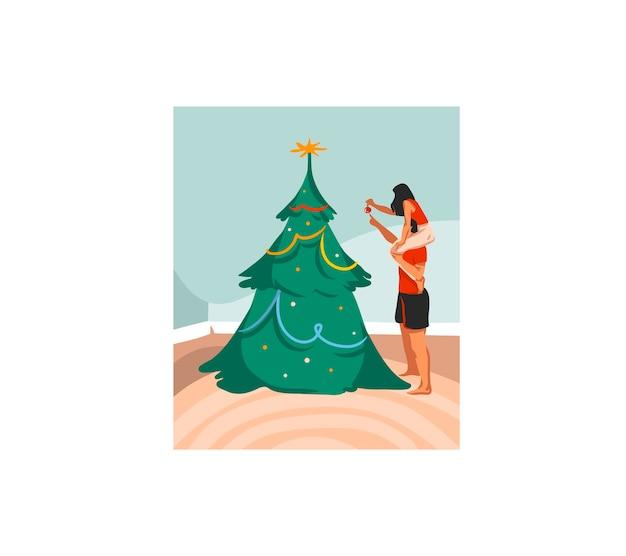 손으로 그린 메리 크리스마스와 새해 복 많이 받으세요 만화 축제 카드