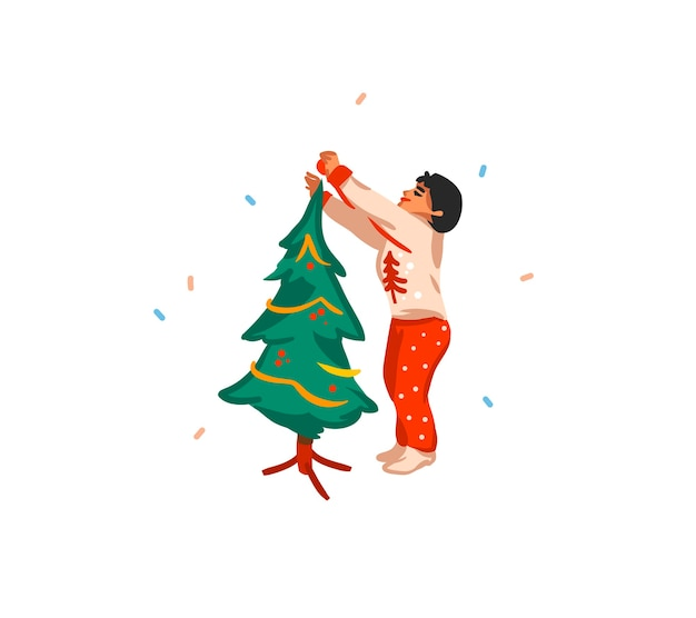 手描きのメリークリスマス、そして新年あけましておめでとうございます漫画のお祝いカード