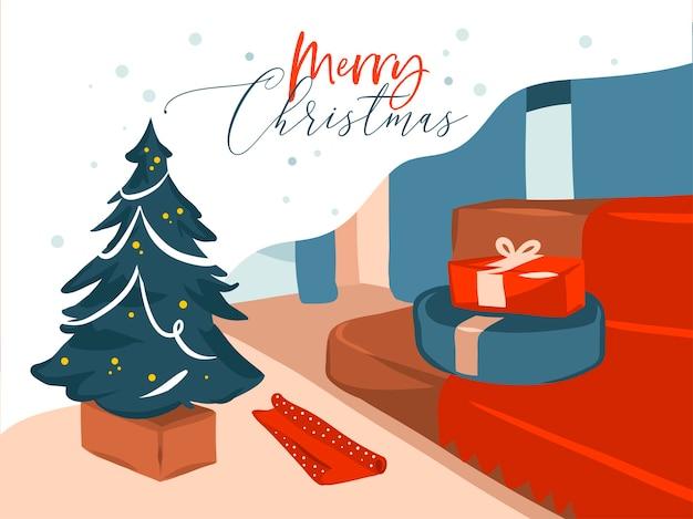 손으로 그린 메리 크리스마스, 해피 뉴 이어 만화 축제 삽화