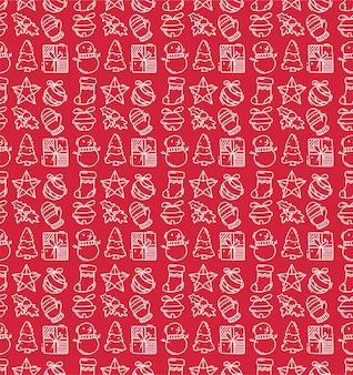 손으로 그린 메리 크리스마스와 새 해 복 많이 받으세요 요소 완벽 한 패턴