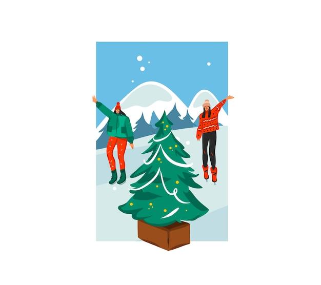 손으로 그린 메리 크리스마스, 해피 뉴 이어 시간 만화 축제 카드