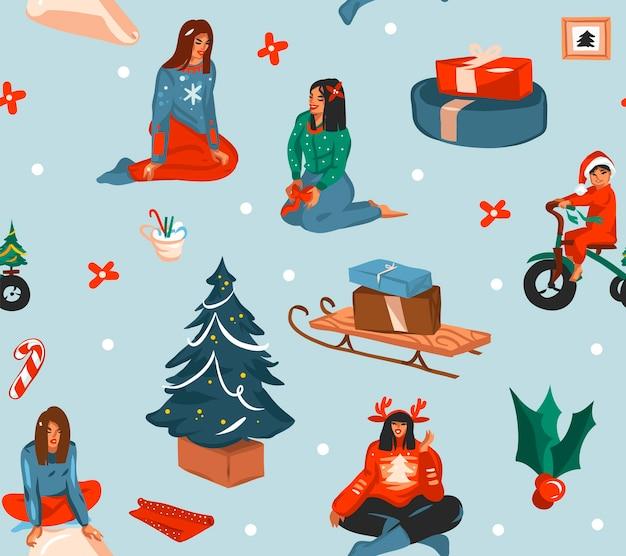 손으로 그린 메리 크리스마스와 새 해 복 많이 받으세요 시간 만화 축제 원활한 패턴