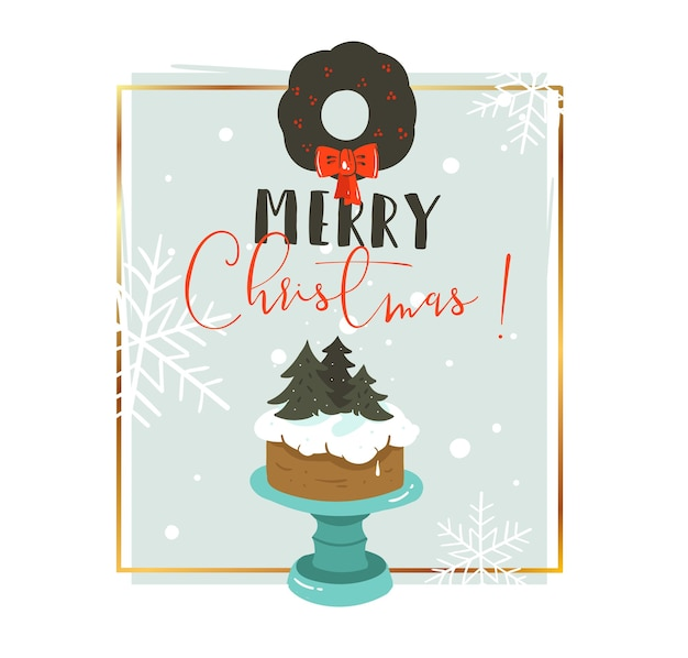 手描きのメリークリスマスと新年あけましておめでとうございます時間漫画イラスト挨拶ヘッダーテンプレートとクリスマスケーキとタイポグラフィテキストが分離されました
