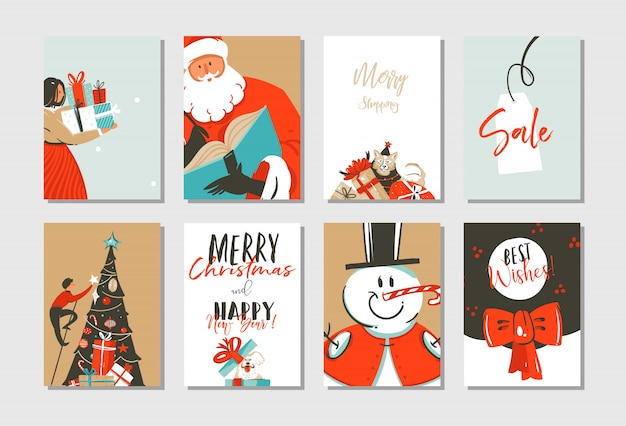 Рисованной с рождеством и новым годом шаблон поздравительных открыток иллюстрации времени енота с елкой, санта-клаусом, снеговиком и собаками на белом фоне