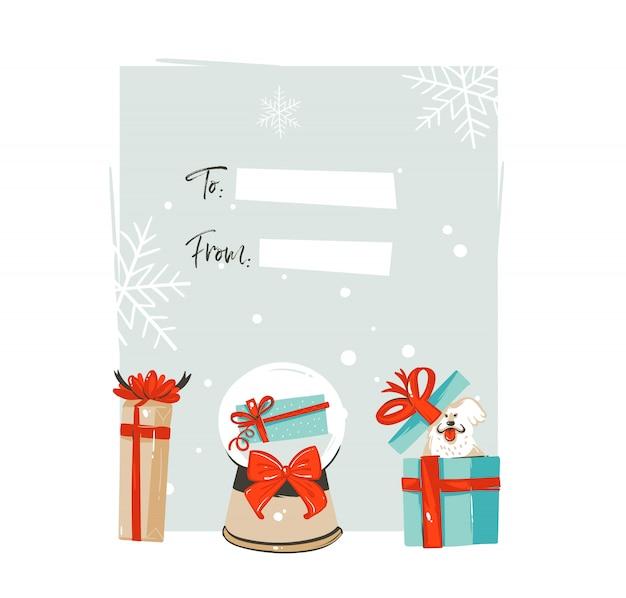 Ручной обращается счастливого рождества и счастливого нового года time coon иллюстрации шаблон тега поздравительной открытки с большими подарочными коробками, сферой снежного шара и собакой на белом фоне