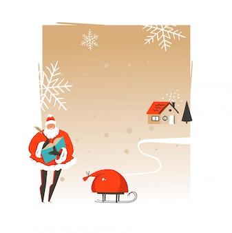 手描きのサンタクロースとメリークリスマスと新年あけましておめでとうございます時間あらいくまイラストグリーティングカードテンプレートとクラフト紙の背景にテキストのコピースペース