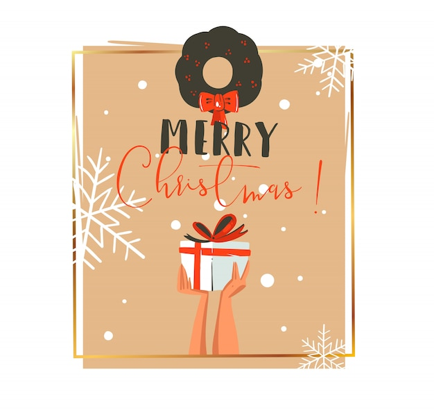 手描きのメリークリスマスと新年あけましておめでとうございます時間レトロなあらいくまイラストイラストグリーティングカード白い背景にサプライズギフトボックスとヤドリギを持っている人の手で