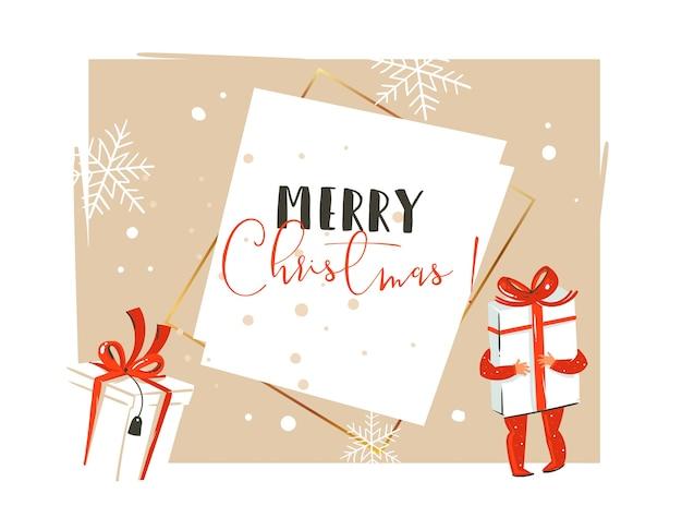 손으로 그린 메리 크리스마스와 새 해 복 많이 받으세요 시간 빈티지 만화 그림 작은 소년 아이 함께 누가 고립 된 선물 상자를 들고.