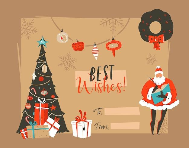 サンタと手描きのメリークリスマスと新年あけましておめでとうございますのヴィンテージ漫画イラストグリーティングカードテンプレート