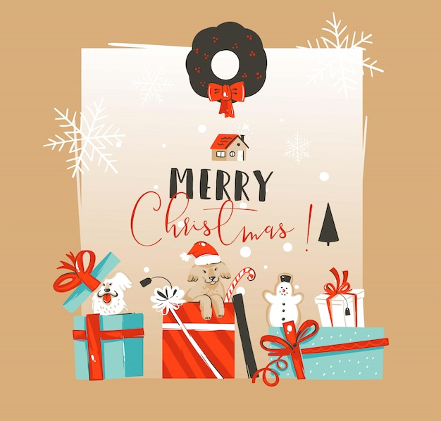 手描きの白い背景の上の驚きのギフトボックスでペットの犬とメリークリスマスと新年あけましておめでとうございます時間ヴィンテージあらいくまイラストグリーティングカードテンプレート Premiumベクター