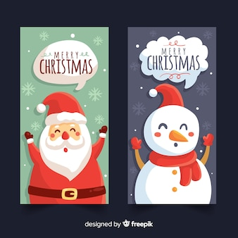 Hand drawn merry christmas banners
