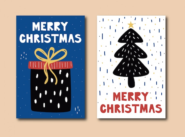 Hand drawn merry christmas cards