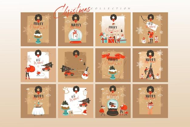 手描きのメリークリスマス漫画イラストカードと背景の大きなコレクションセット