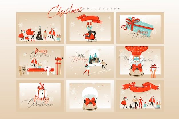 手描きのメリークリスマス漫画イラストカードと背景セットバンドル