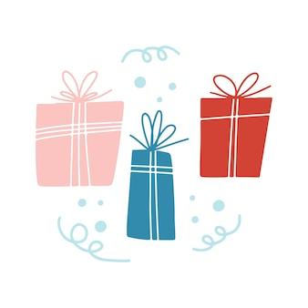 白い背景の上のカラフルなギフトボックスの雪片と手描きのメリークリスマスクリップアート