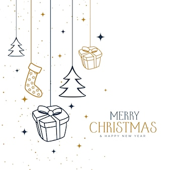 Hand drawn merry christmas decorative background design