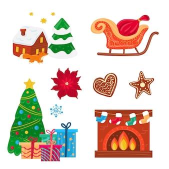 Hand-drawn merry christmas element set