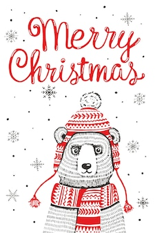 Hand drawn merry christmas greeting card. funny winter bear in knitted hat and scarf. doodle snowflakes,