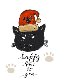 Hand drawn  merry christmas greeting card template with black cat character in red santa claus hat and modern calligraphy phrase happy meow to you.
