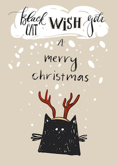 Hand drawn  merry christmas greeting card template with cute black cat character in deer antler and modern calligraphy phase black cat wish you a merry christmas