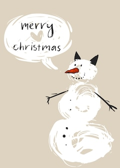 Hand drawn  merry christmas greeting card template with cute white snowman character and modern calligraphy phase merry christmas.