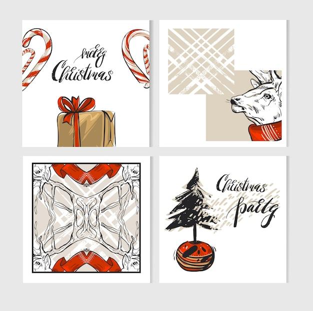 手描きのメリークリスマスグリーティングカードテンプレートコレクションセット鹿、ギフトボックス、キャンディケイン、クリスマスツリー、白で隔離の現代書道。ユニークなジャーナリングカード