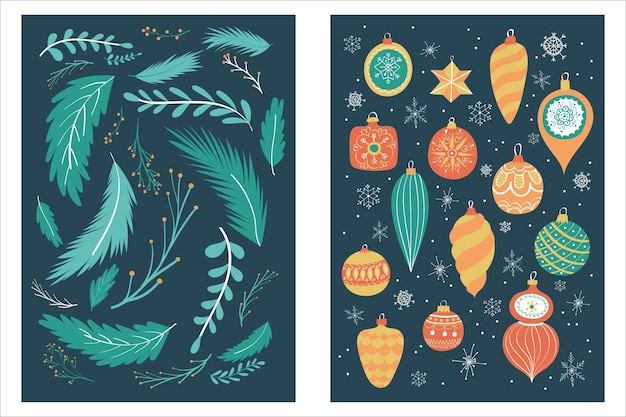 Hand drawn merry christmas and happy new year cards collection set