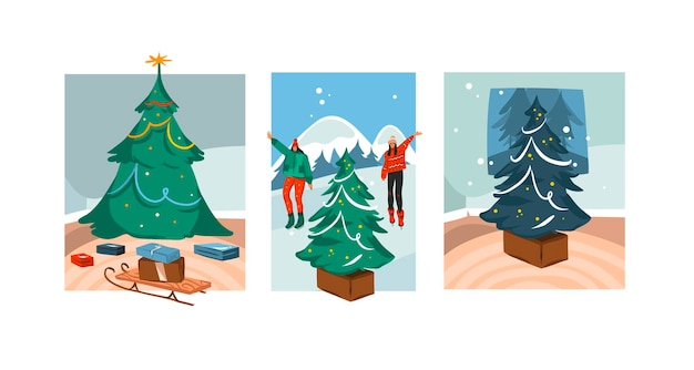 Hand drawn   merry christmas,and happy new year cartoon festive card with cute illustrations of xmas tree scenes collection set