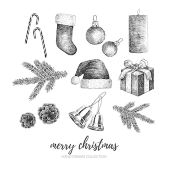 손으로 그린 메리 크리스마스 일러스트 요소