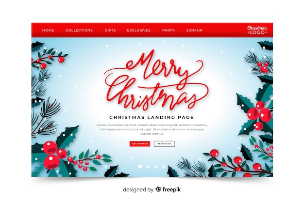 Hand drawn merry christmas landing page
