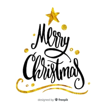 Hand drawn merry christmas lettering
