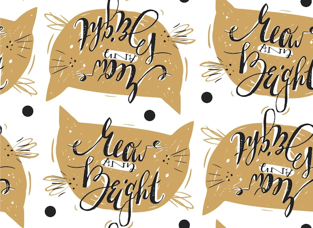 Hand drawn  merry christmas pattern with cute modern calligraphy phase meow and bright.
