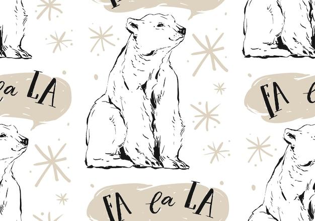 北極の白いホッキョクグマ、雪片、キャロルと手描きのメリークリスマスのシームレスなパターン