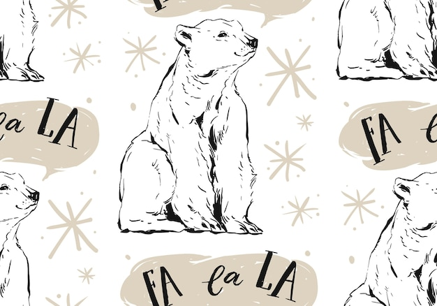 Hand drawn merry christmas seamless pattern with north pole white polar bear,snowflakes and caroling