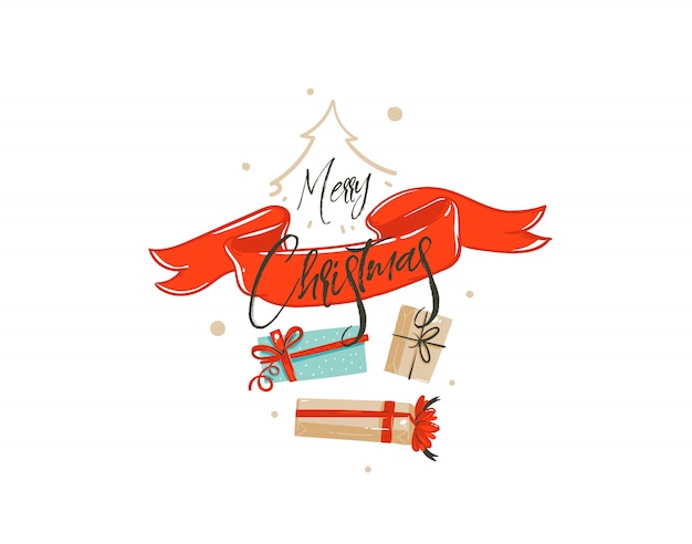 Hand drawn  merry christmas shopping time cartoon  greeting illustration card  with many surprise gift boxes,red ribbon and handwritten calligraphy  on white background.