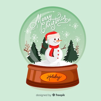 Hand drawn merry christmas snowball globe